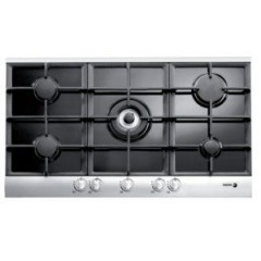 Fagor Gas Built-In Hob 5 Burner 90 cm Black Glass With Stainless Frame Cast Iron: 5CFI-95GLSTXA