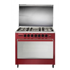 Universal Gas Cooker 5 Burners Semi Built-in Cast Iron Digital With Fan Red Color: P-DRM 6908