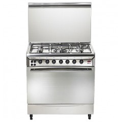 Universal Gas Cooker 5 Gas Burners 60*80 cm Stainless Steel With Fan and Timer Digital: 8605-4