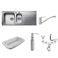 TEKA (Tekaway) Sink & Tap & White Colander & Soap Dispenser: Universo 1 1/2 C R