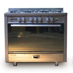UNIONTECH Cooker 100*60 cm 5 Gas Burner Cast Iron Full Safety Semi Built-in Stainless Mirror:  C60100SS-1SC-511-IDSP