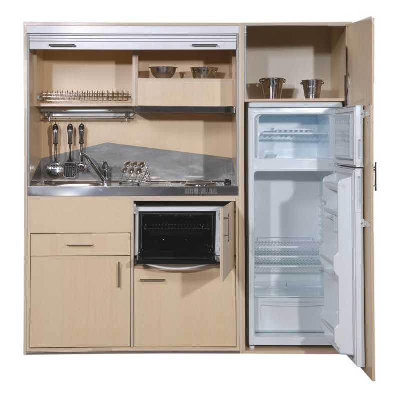 Full big kitchenette with stainless steel sink tap and for Petite cuisine equipee studio