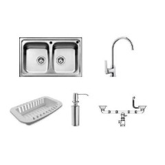 Teka (tekaway) Sink & Tap & White Colander & Soap Dispenser: Universo 2 C-IN