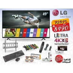 "LG 49"" LED Ultra HD 4K 3D Smart Wireless WEBOS 2.0 TV + Gifts: 49UF850T"