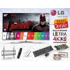 """LG 49"""" Super Ultra HD 4K LED TV 3D Smart Wireless WEBOS 3.0 TV with Built-in HD Receiver + Gifts: 49UH850V"""