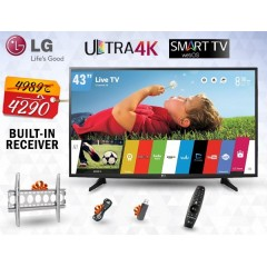 "LG 43"" LED TV Ultra HD 4K Smart WebOS 3.0 With Built-In HD Receiver + Gifts: 43UH617V"
