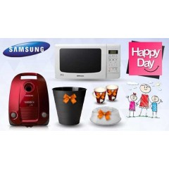 Samsung Vacuum Cleaner 1600 W Red + Samsung Microwave 20 Liter White + Gifts: MDP5