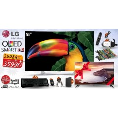 "LG OLED TV 55"" CURVED Full HD 3D Smart Wireless WEBOS + LG TV 32"" + Gifts: 55EG910T"