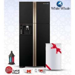 White Whale Refrigerators 540 Liter 4 Doors Glass Black + FREE Minibar + Free Gifts: WRF-G7099HT GBK