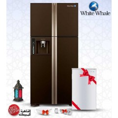 White Whale Refrigerators 540 Liter 4 Doors Glass Brown + FREE Minibar + Free Gifts: WRF-G7099HT GBW