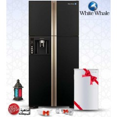 White Whale Refrigerator 582 Liter Black 4 Doors + FREE Minibar + Free Gifts: WRF-8099HT GBK