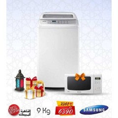 Samsung Washing Machine Toploading 9 Kg White Color + FREE Samsung Microwave 20 Lt: WA90H4200SW/AS+Gift