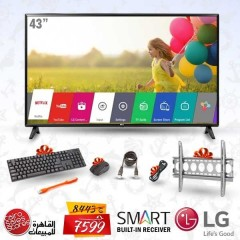 "LG 43"" SMART LED FULL HD 1080p TV with Built-in Receiver + Gifts: 43LJ550V"