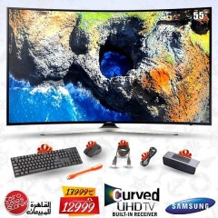 "Samsung TV 55"" LED Curved UHD Smart Wireless with Built-in Receiver + Gifts: 55MU7350"