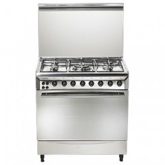 Universal Gas Cooker 60*80 cm 5 Burners Stainless Steel Iron Cast With Fan: STCFS8605