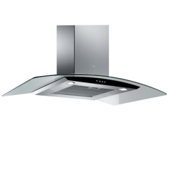 Turbo Air Hood 90cm Chimney Hood Curved Glass 800 m3/h Stainless With Black Panel: IRIS 90