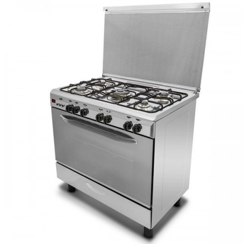 KIRIAZI Gas Cooker 90*60 cm 5 burner Iron Cast With Fan Stainless : 9604F