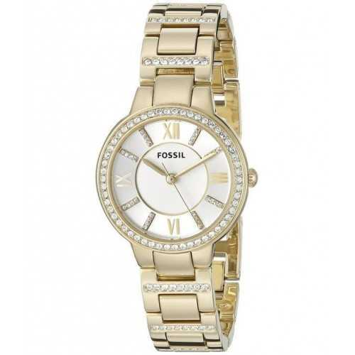 Fossil Women's Virginia Gold-Tone Stainless Steel Watch with Link Bracelet: ES3283