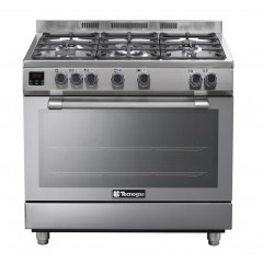 Tecnogas 90*60 cm 5 Burners Full Safety Cast Iron Stainless Digital: N2X96G5VC