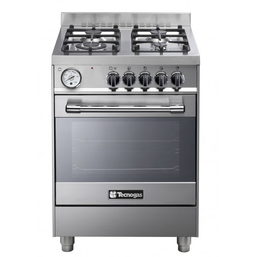 Tecnogas Cooker Pro 60*60 cm Free Stand 4 Burners With Fan Cast Iron Stainless Timer: P2X66G4VC