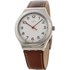 Swatch Unisex Strictly Silver White Dial Leather Band Watch: YGS131