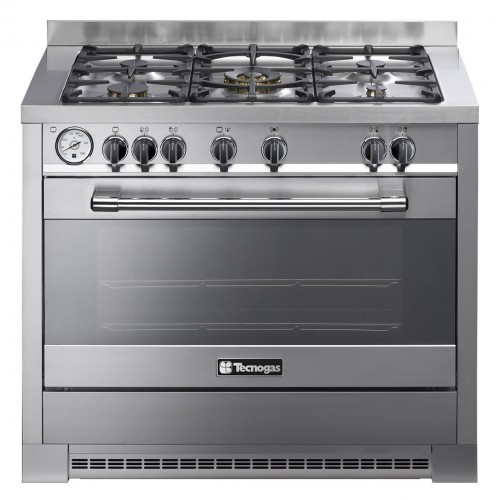Tecnogas Cooker Pro 100*60 cm 5 Burners Full Safety Fan Cast Iron Stainless Timer: P1X16G5VC