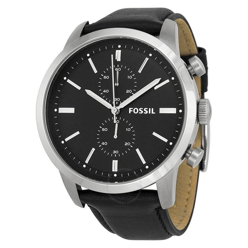 townsman chronograph black leather watch fs5032p