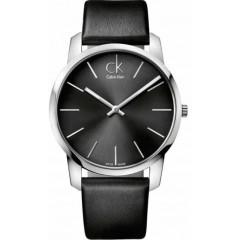 CALVIN KLEIN Watch Men's Swiss City Black Leather Strap: K2G21107