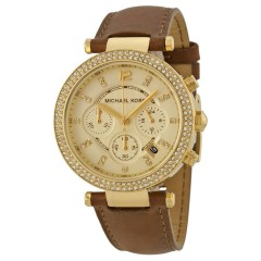 MICHAEL KORS Chronograph Gold Dial Brown Leather Ladies Watch: MK2249