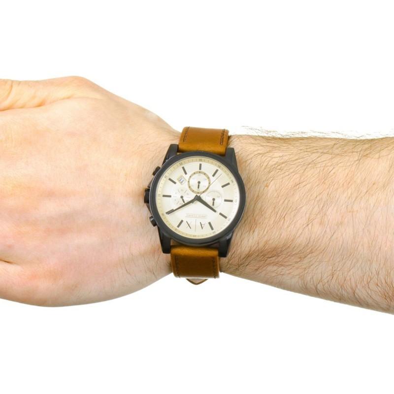 e1ac5d4c7 ... أرماني إكستشانج ساعة جلد طبيعي للرجال مقاومة للماء لون بني مينا ذهبي  AX2511 ...