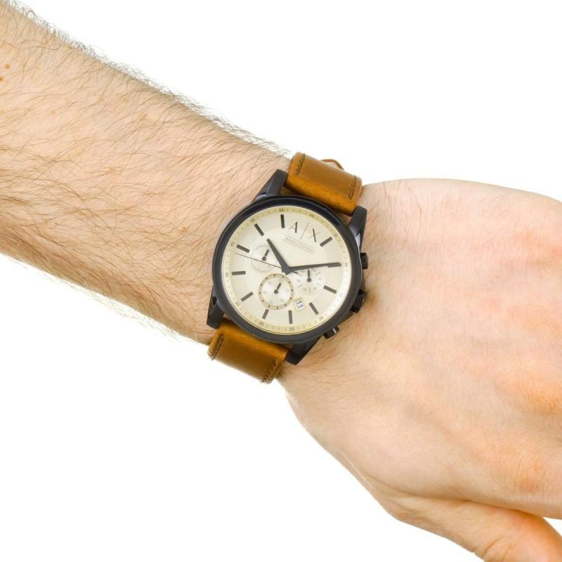 710dae4cc ... أرماني إكستشانج ساعة جلد طبيعي للرجال مقاومة للماء لون بني مينا ذهبي  AX2511