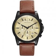 ARMANI EXCHANGE Leather Men's Watch Gold Enamle Brown Bracelet: AX2511