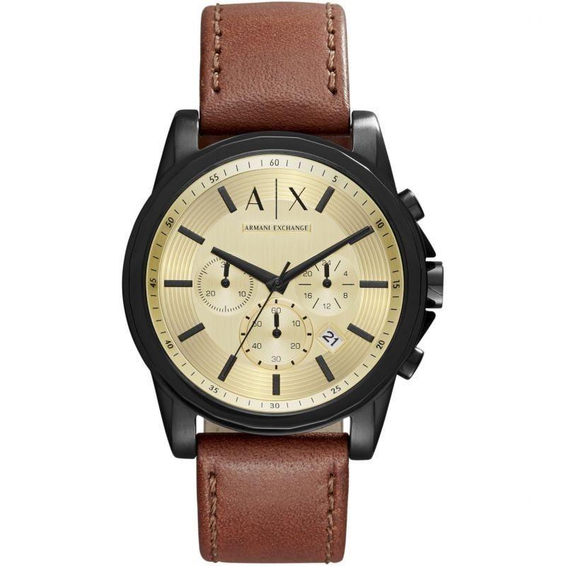 9400381bf أرماني إكستشانج ساعة جلد طبيعي للرجال مقاومة للماء لون بني مينا ذهبي AX2511  ...