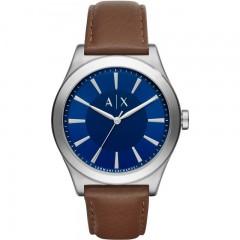 ARMANI EXCHANGE Smart Leather Men's Watch Blue Enamle Brown Bracelet: AX2181