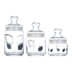Luminarc Plumes Sugar Bowl Set 3 Pieces: L4559