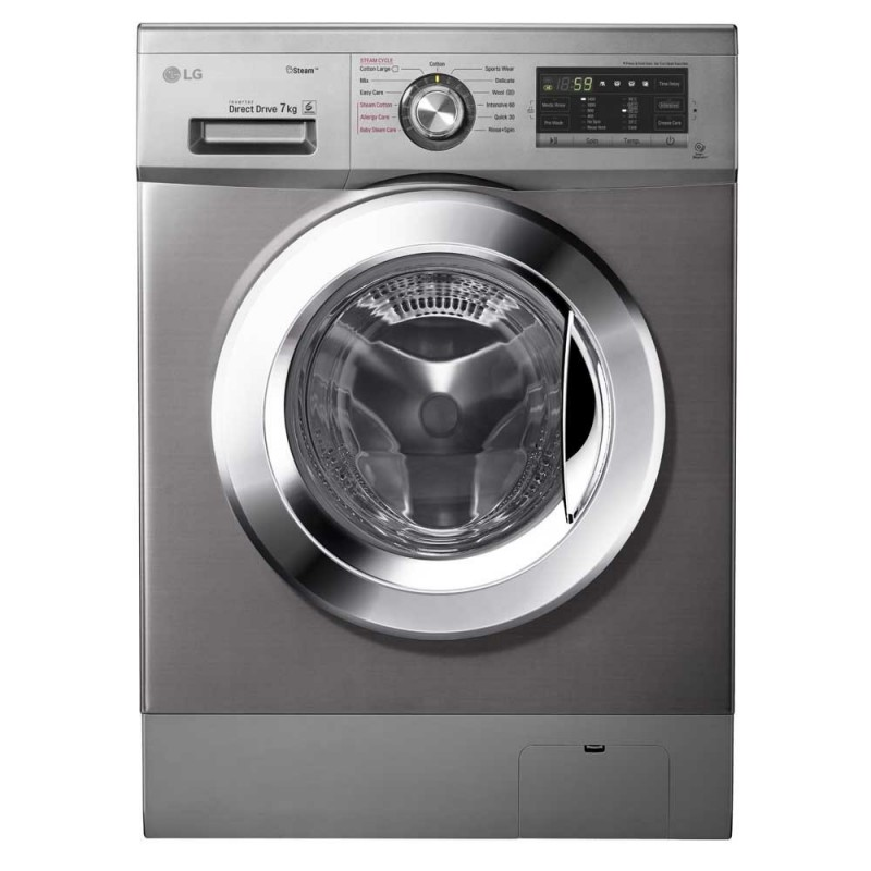 lg washing machine 7 kg 1400 rpm with steam direct drive 6 motions silver gifts fh4g6qdy4. Black Bedroom Furniture Sets. Home Design Ideas