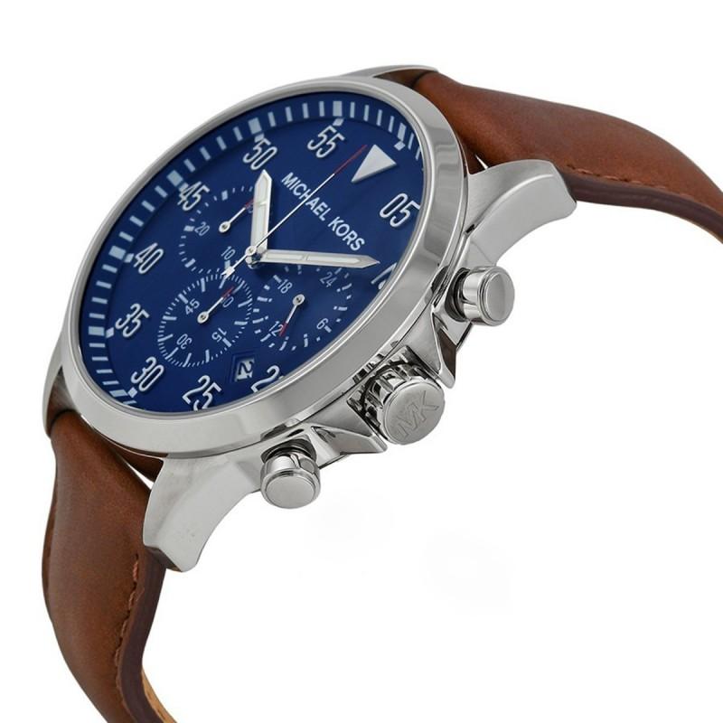 96cb56b98 سعر و مواصفات مايكل كورس ساعة مينا زرقاء سوار جلد بني للرجال MK8362 ...