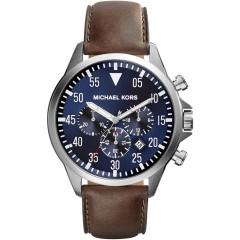 فوسيل مايكل كورس ساعة مينا زرقاء سوار جلد بني للرجال MK8362