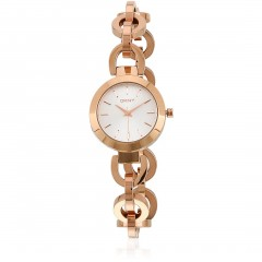DKNY Silver Dial Rose Gold Tone Stainless Steel Ladies Watch: NY2135