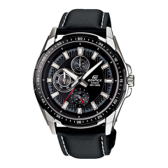 CASIO Edifice Chronograph Leather Band Black Dial Men's Watch: EF-336L-1A1VUDF