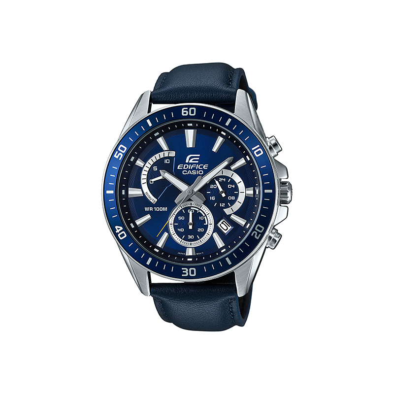 ad89b3b2b كاسيو اديفيس ساعة كرونوكراف للرجال سوار جلد مينا زرقاء استوب وتش  EFR-552L-2AVUDF