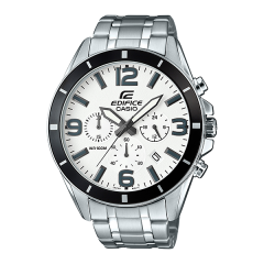 CASIO Edifice Chronograph Stainless Steel White Dial Stopwatch Men's Watch: EFR-553D-7BVUDF