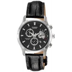 CASIO Chronograph Leather Band Black Dial Men's Watch: BEM-501L-1AVDF