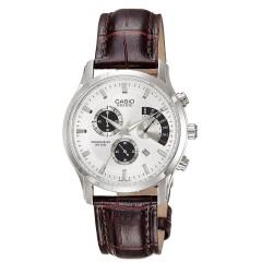 CASIO Chronograph Brown Leather Bracelet Men's Watch: BEM-501L-7AVDF