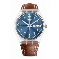 SWATCH WINDY DUNE Unisex Watch Brown Band: GE709