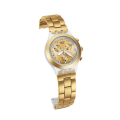 SWATCH Uisex Stainless Steel Analog Watch With Gold-Tone Dial: SVCK4032G