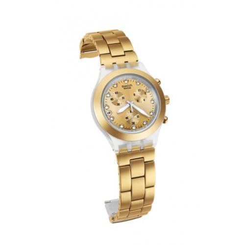 سواتش ساعة للرجال والسيدات سوار استانلس ستيل ذهبي اللون SVCK4032G