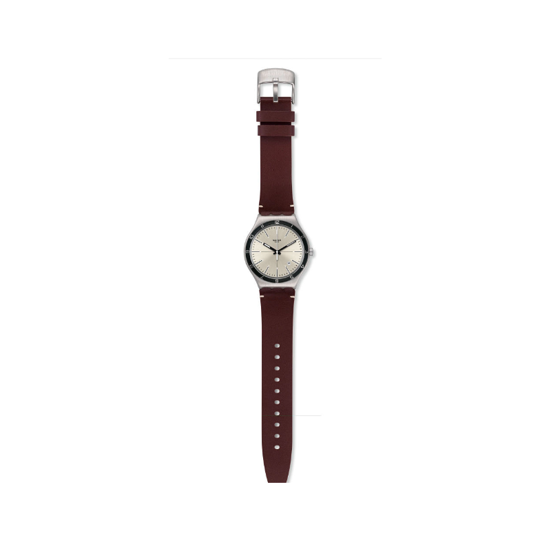 705a52653 ... SWATCH FOUR STITCHES Men's Watch Brown Leather Silver Dial: YWS423