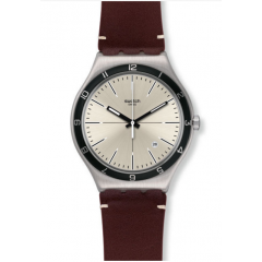 SWATCH FOUR STITCHES Men's Watch Brown Leather Silver Dial: YWS423