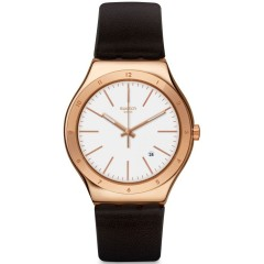 SWATCH TIC-BROWN Men's Watch Leather White Dial: YWG405